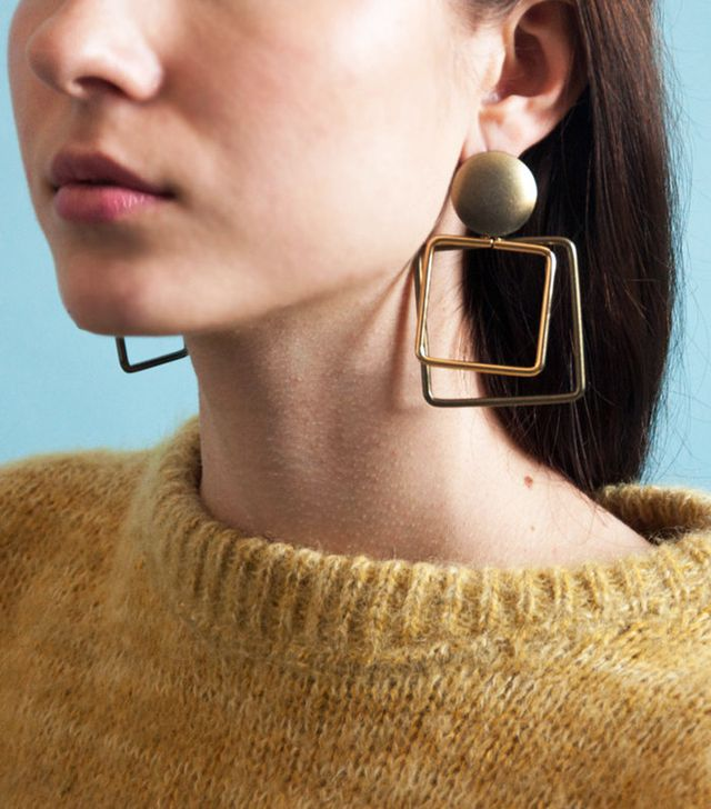 Persephone Vintage Oversized Square Drop Earrings