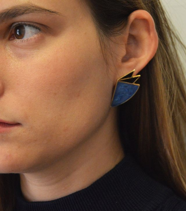 Lady Sargeant Abstract Shaped Black and Blue Statement Wing Studs