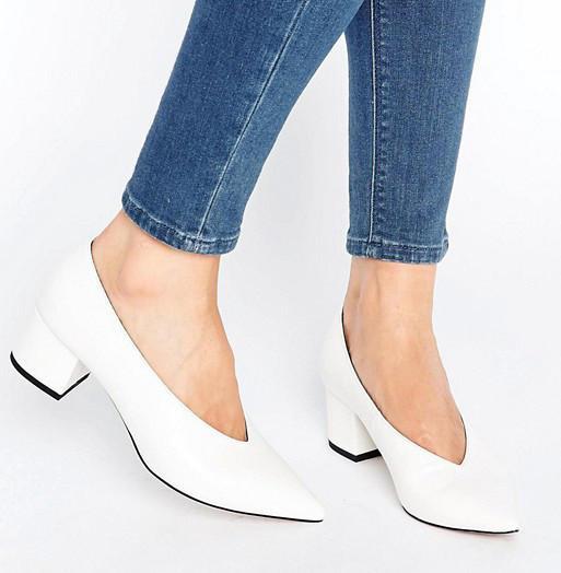 Zara Leather Mid Heel Shoes