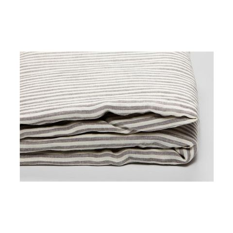 100% Linen Duvet Cover in Grey & White Stripe