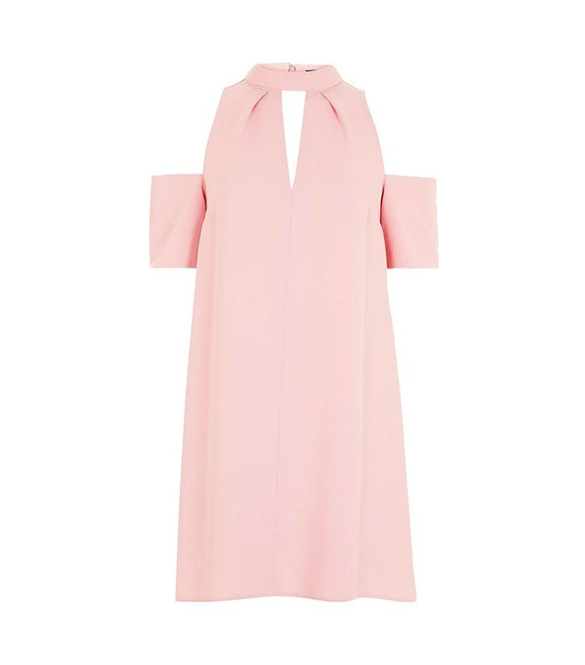 Topshop Cold Shoulder Funnel Neck Dress