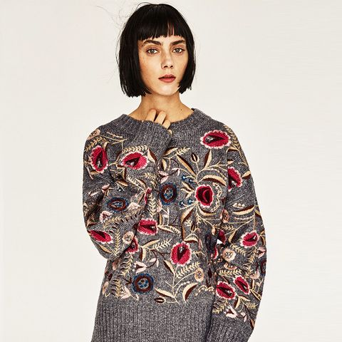 Floral Embroidered Oversized Sweater