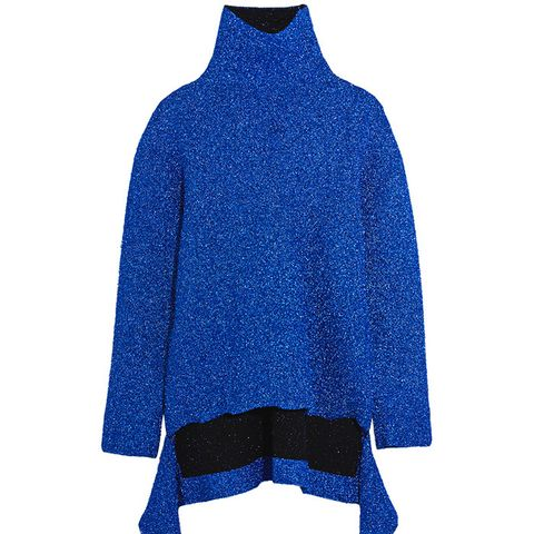 Draped Knitted Lamé Turtleneck Sweater