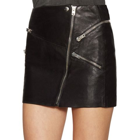 Leather Zip Front Mini Skirt