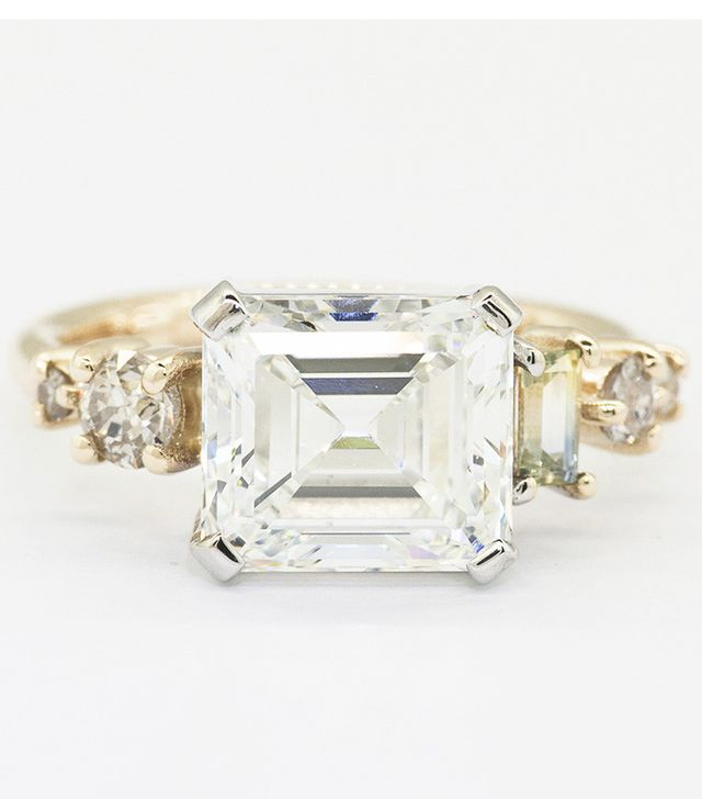 Mociun Asscher Diamond and Emerald Cut Bicolor Sapphire Cluster Ring