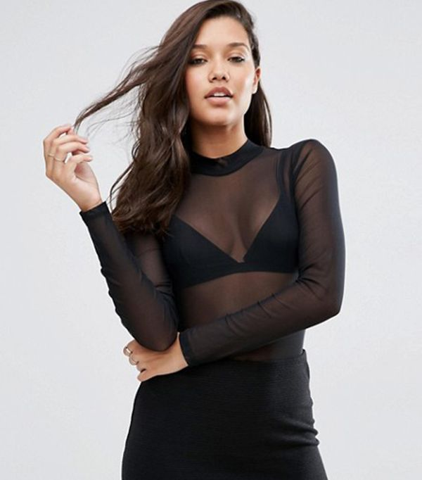 ASOS Body With High Neck And Open Back In Mesh