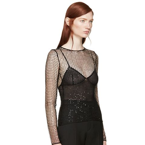 Black Sequined Mesh Top