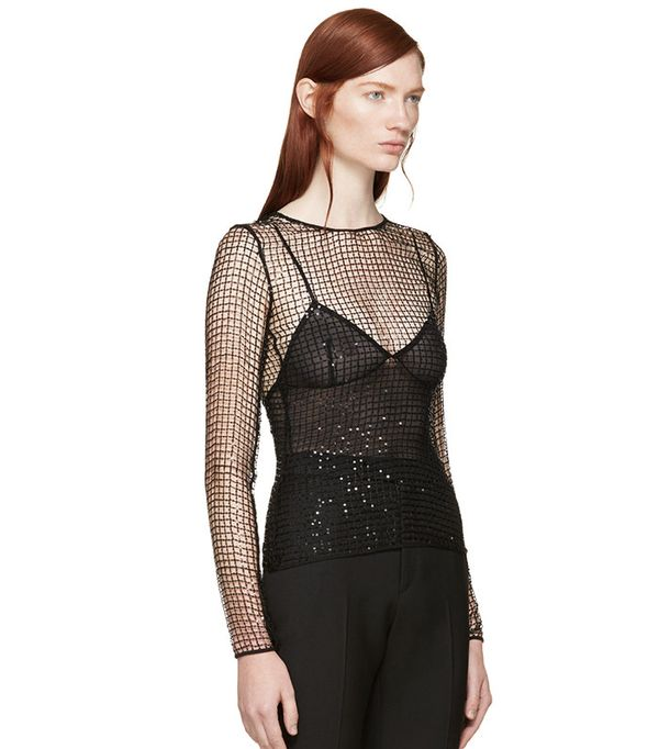Saint Laurent  Black Sequined Mesh Top
