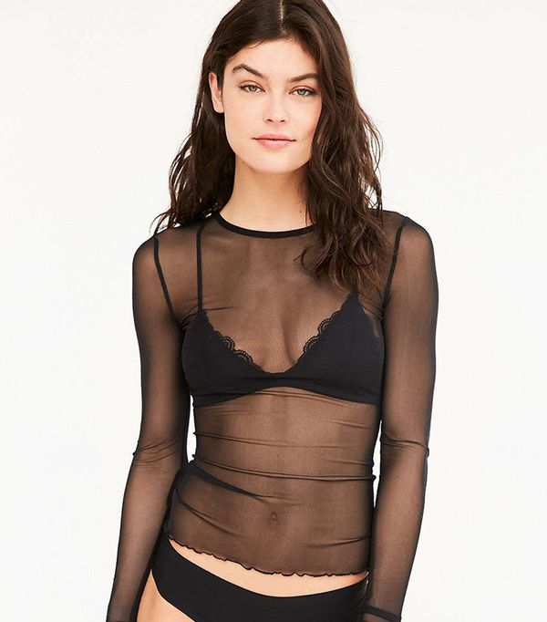 Urban Outfitters Out From Under Mesh Long Sleeve Top