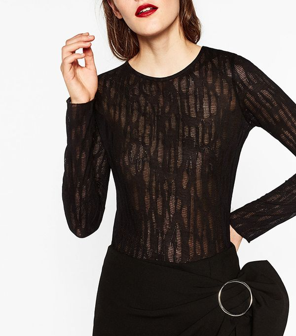 Zara Long Sleeve Sheer Top