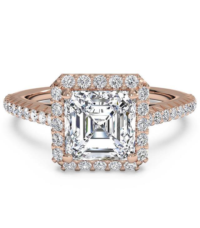Ritani French-Set Halo Diamond Band Engagement Ring
