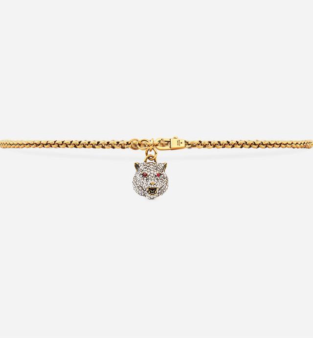 Gucci Chain Belt With Crystal Feline Head