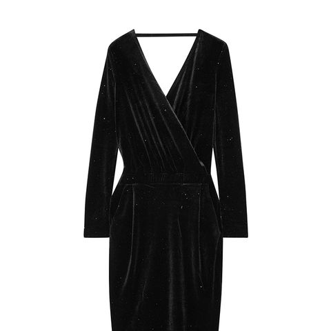 Jannina Wrap-Effect Metallic Stretch-Velvet Dress