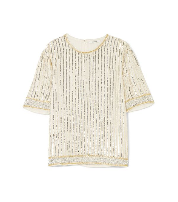 Temple Embellished Chiffon Top