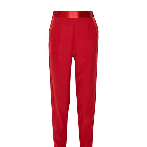 Satin-Trimmed Striped Silk Crepe de Chine Tapered Pants