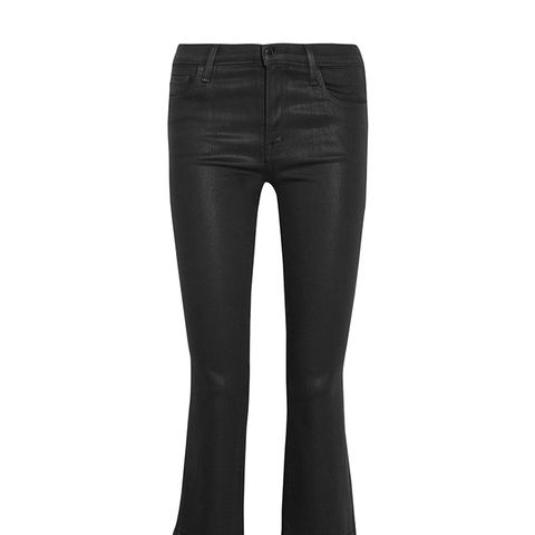 Selena Cropped Coated Mid-Rise Bootcut Jeans