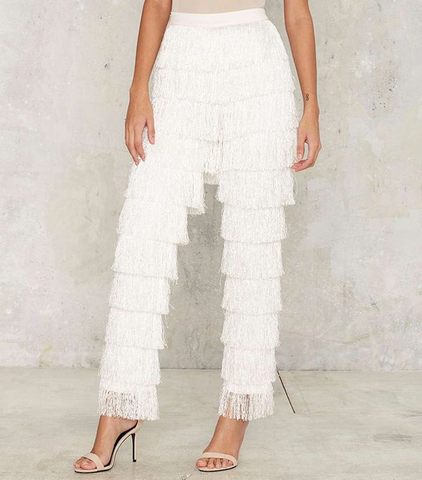Lavish Alice High Gear Fringe Pants in White