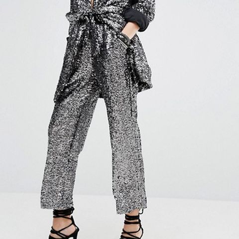 Holidays Awkward Length Pants In Sequin Co-Ord