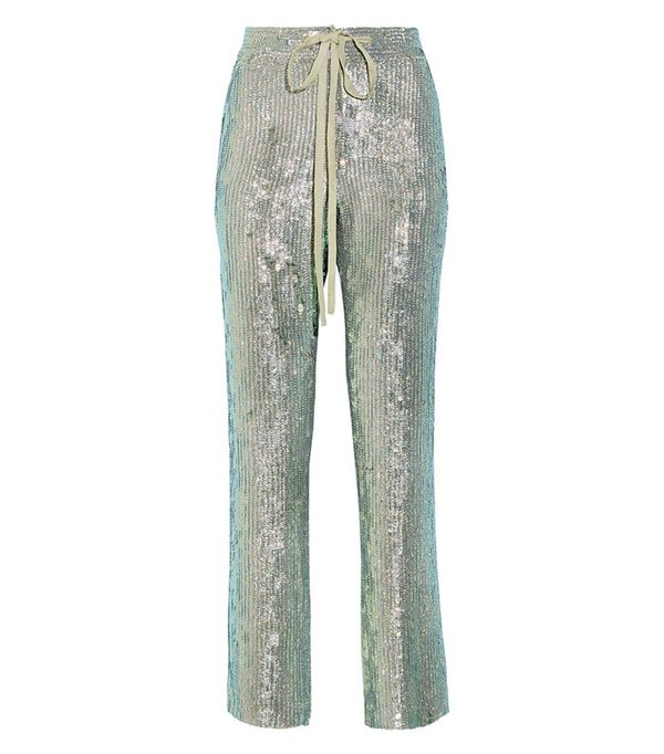 Rosie Assoulin A Fish Called Wanda Iridescent Sequined Silk-Chiffon Wide-Leg Pants