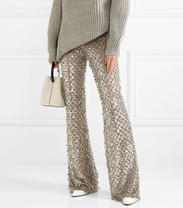 Michael Kors Collection Embellished Stretch-Tulle Flared Pants