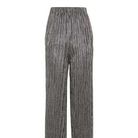 Stripe Metallic Plisse Trousers