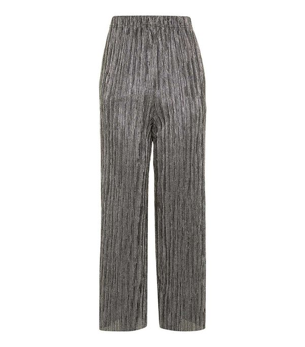 Topshop Stripe Metallic Plisse Trousers