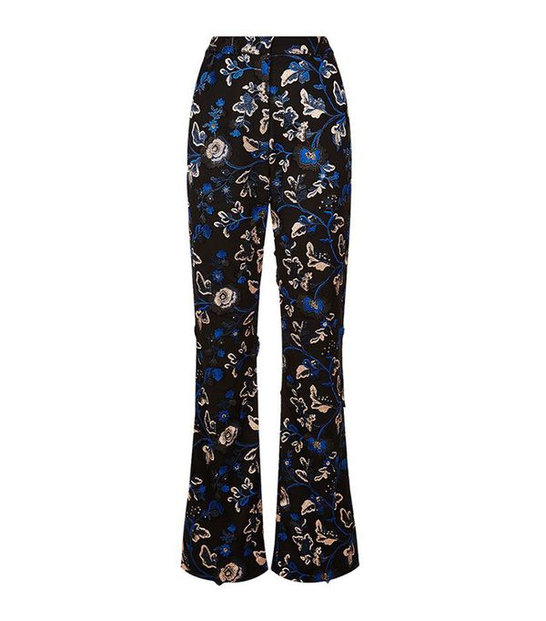 Self Portrait Embellished Floral-Lace Trousers