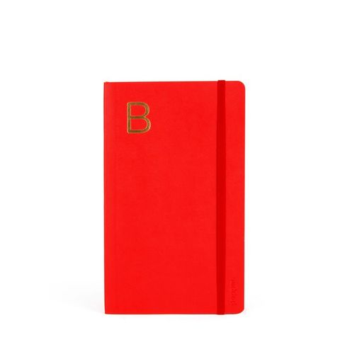 Red Medium Soft Cover Notebook With Gold Initial