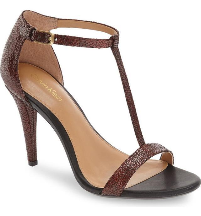 Calvin Klein Nasi Leather T-Strap Sandals