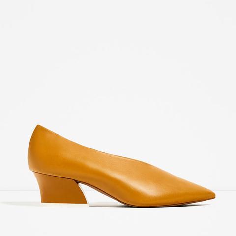 V-Shape Cut Leather Shoes
