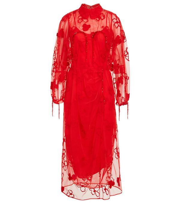 Simone Rocha Gathered Long Sleeve Embroidered Dress