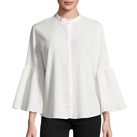Goldie Crinkled Bell-Sleeve Shirt