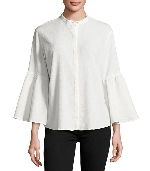M.i.h Goldie Crinkled Bell-Sleeve Shirt