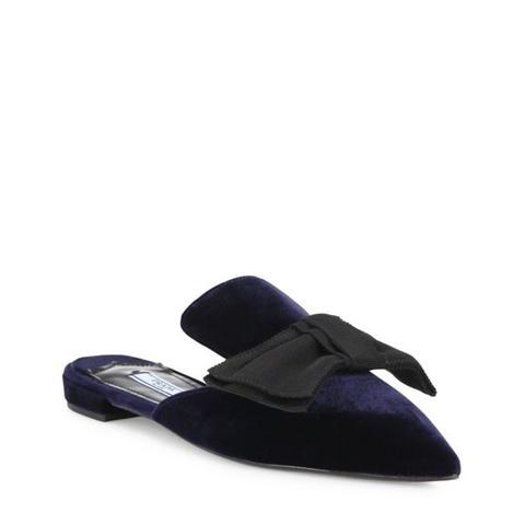 Velvet & Bow Point-Toe Mule Slides