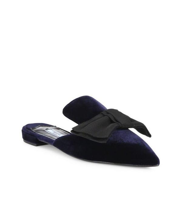 Prada Velvet & Bow Point-Toe Mule Slides