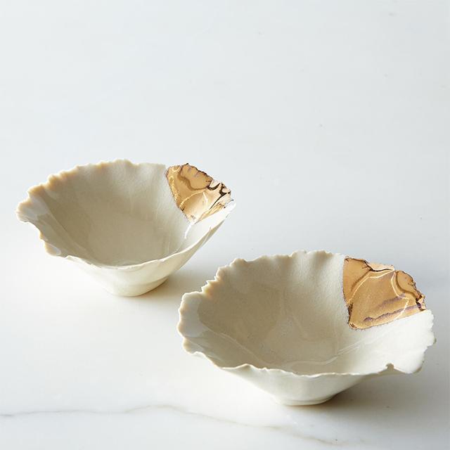 FisheyeBrooklyn Gold-Dipped Seashell Pinch Bowls (Set of 2)