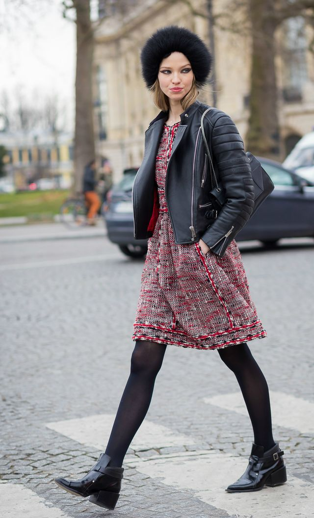 Style Notes: You can't go wrong with a pair of black tights under a dress! Throw on a leather jacket and you have a great way to take your favourite spring dress to winter.