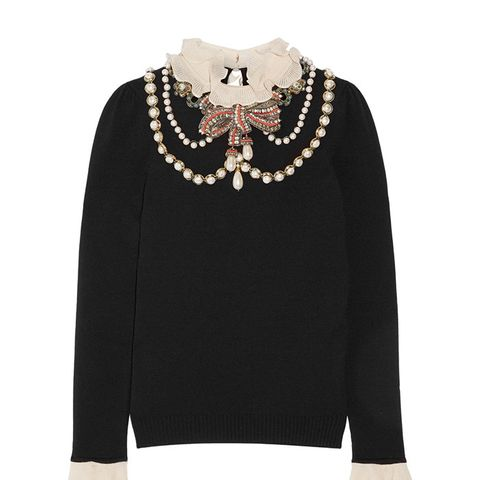 Ruffle-Trimmed Embellished Wool-Blend Sweater