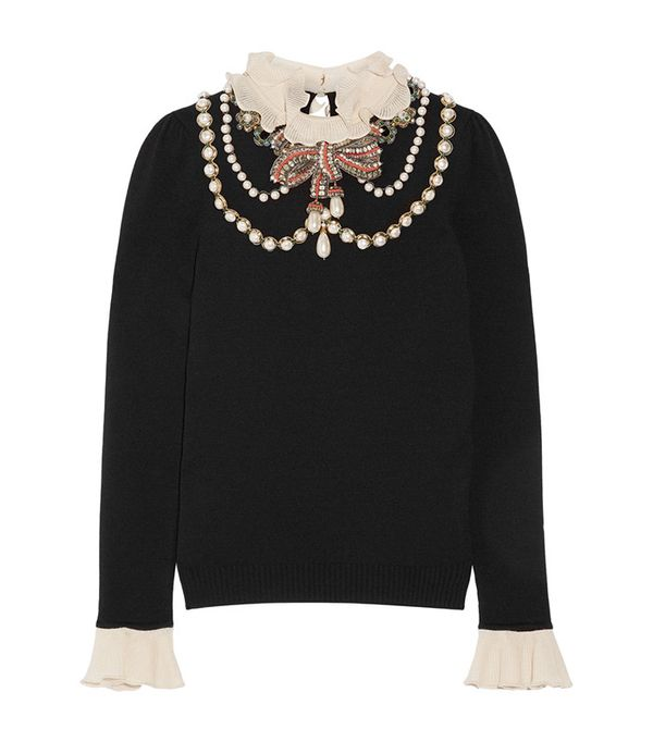 Gucci Ruffle-Trimmed Embellished Wool-Blend Sweater