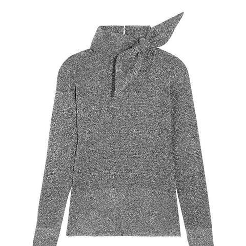 Adil Bow-Embellished Metallic Knitted Turtleneck Top