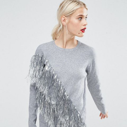 Co-Ord Sweater with Metallic Fringing