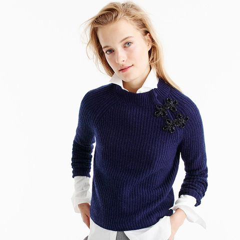 Ribbed Sweater With Sparkly Frog Closures