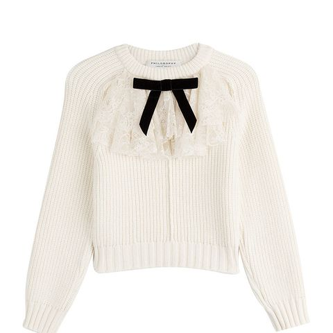 Serafini Pullover with Virgin Wool and Lace