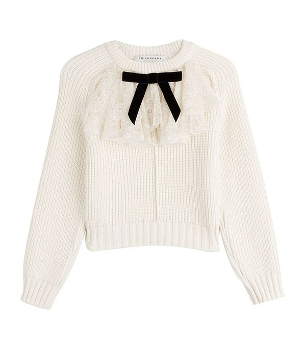 Philosophy di Lorenzo Serafini Pullover with Virgin Wool and Lace