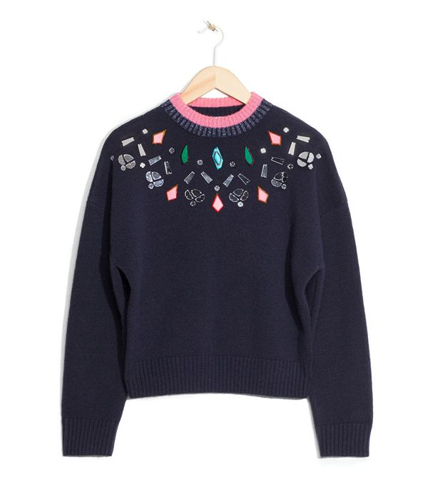 & Other Stories Stone Embellished Sweater