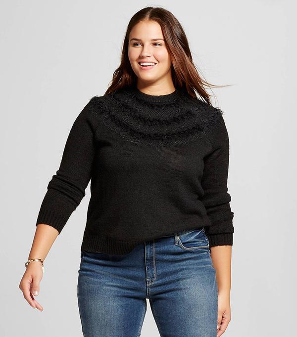 Who What Wear Women's Plus Size Fair Isle Raglan Sweater