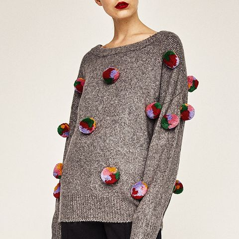 Oversized Pompoms Sweater