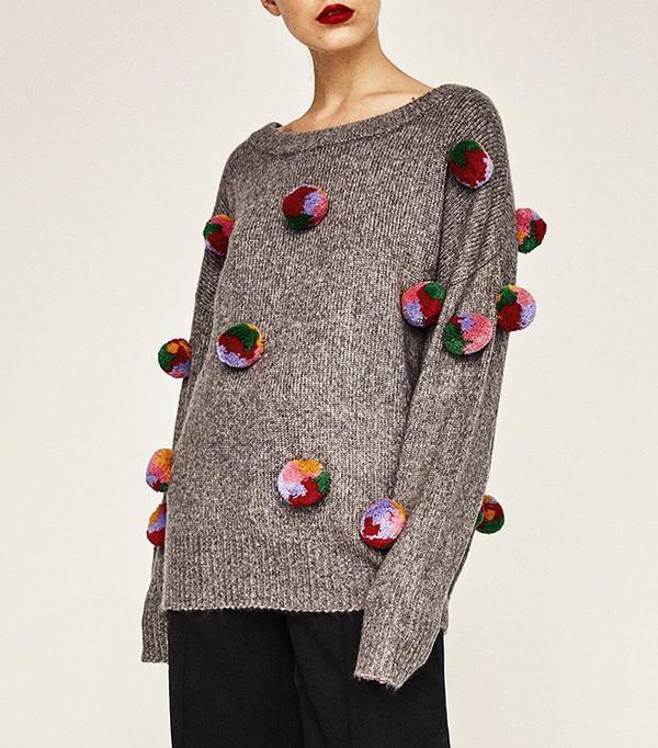 Zara Oversized Pompoms Sweater