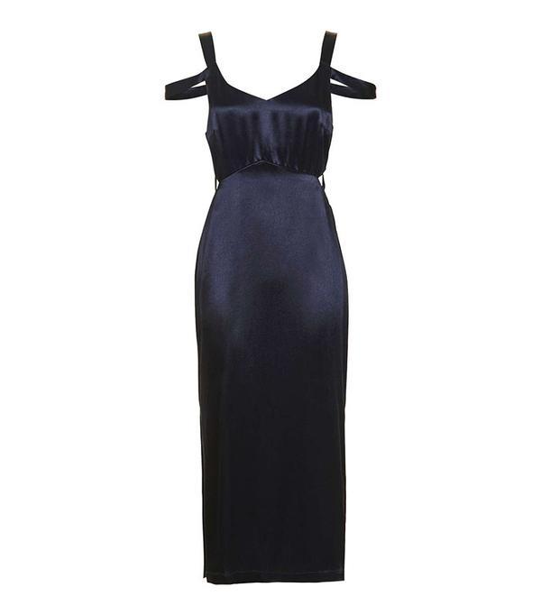 Topshop Cold Shoulder Slip Midi Dress