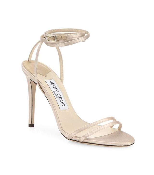 Jimmy Choo Tizzy 100 Satin Ankle-Wrap Sandals